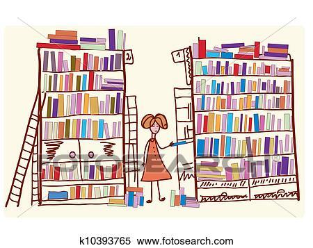 banque d 39 illustrations biblioth que dessin anim enfant et beaucoup livres k10393765. Black Bedroom Furniture Sets. Home Design Ideas