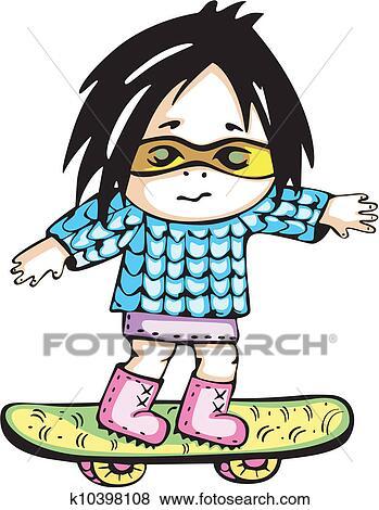 как нарисовать девочку со скейтом марке