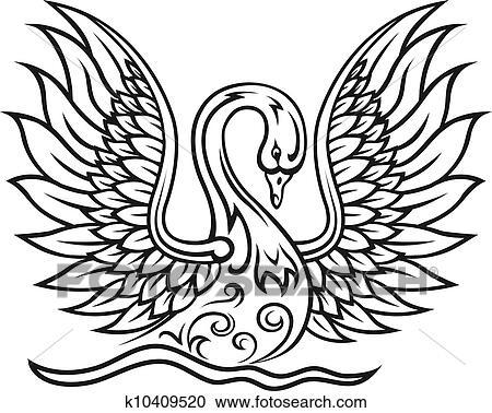 Clipart elegante schwan vogel k10409520 suche clip for Elegante wandbilder