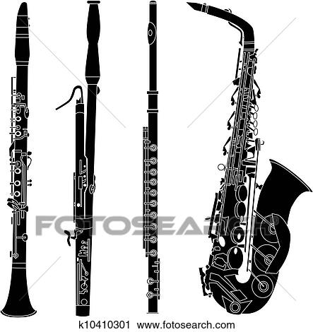 Clipart of Woodwind instruments silhouettes k10410301 ...