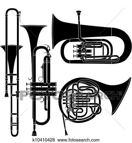 Clip Art - Brass musical instruments vector. Fotosearch - Search ...