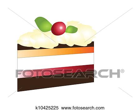 Clipart of Piece of delicious cake isolated on white ...