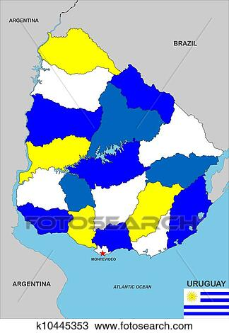 手绘图 - 乌拉圭, 地图