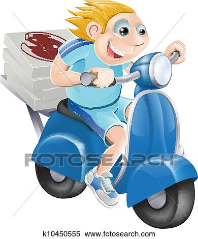 Clipart of Fast pizza delivery man k10450555 - Search Clip Art ...