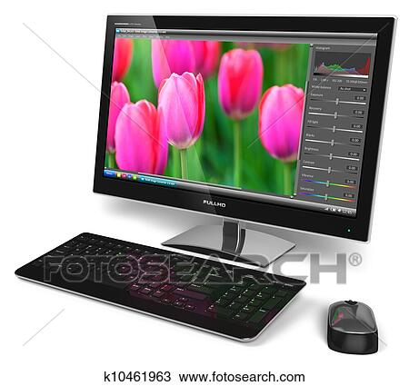Stock photo of desktop computer with photo editing for Art editing software