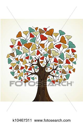 clipart abstrakt ginkgo herbstliche baum k10467311 suche clip art illustration. Black Bedroom Furniture Sets. Home Design Ideas
