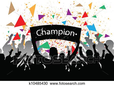 Clipart of crowd cheering k10485430 - Search Clip Art ...