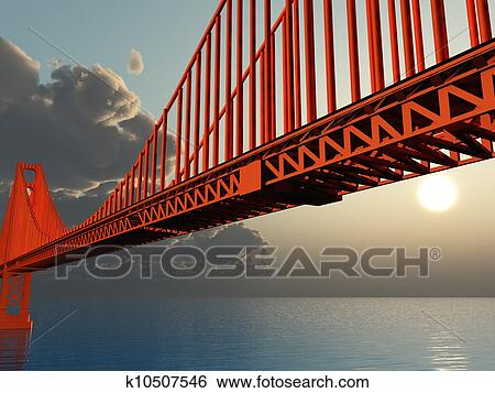 Golden Gate Bridge Illustration Fotosearch Search Clip Art