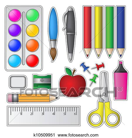 Clipart of Set of School Tools and Supplies k10509951 ...