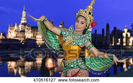 泰国人, 跳舞, 在上, 泰国人, 历史, 公园, background.