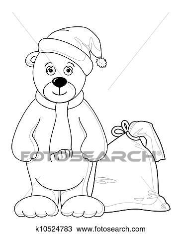 手绘图 - 玩具熊, 圣诞老人