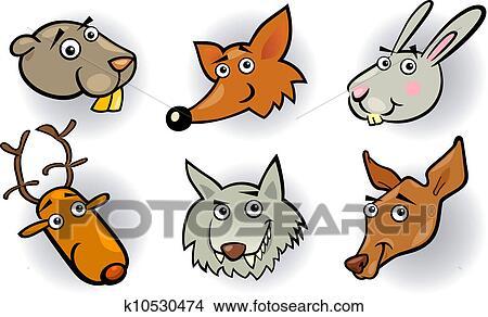 剪贴画 - 卡通漫画, 森林, 动物, 头, 放置图片