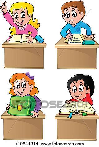 Clipart scuola alunni tema immagine 1 k10544314 for Scuola clipart