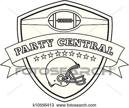 Clipart football am ricain casque bouclier dessin ligne k10556413 recherchez des clip - Dessin football americain ...