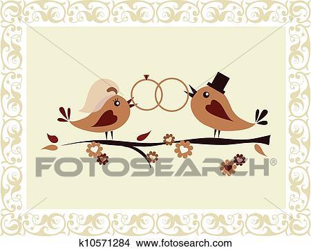 Clipart - invitation mariage, à, oiseaux. Fotosearch - Recherchez des ...
