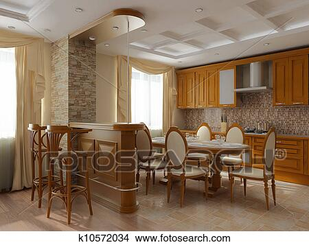 Drawings of 3d rendering interior of a dining room and for 3d dining room wall art