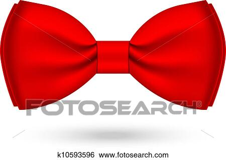 clip art of vector illustration of red bowtie k10593596