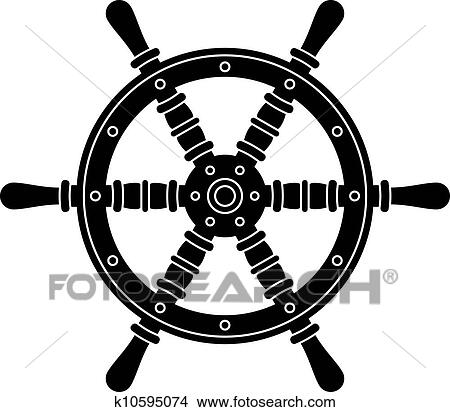 Clipart of vector nautical boat steering wheel silhouette ...