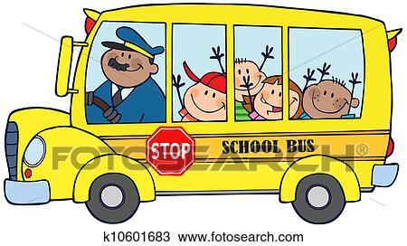 School Bus Drawings School Bus With Happy Children