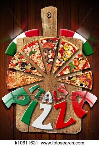 clipart italie pizza sur les vieux planche d couper k10611631 recherchez des clip arts. Black Bedroom Furniture Sets. Home Design Ideas