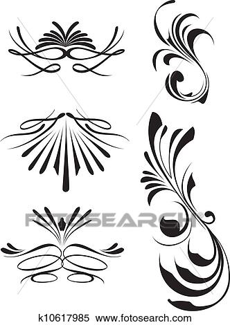 Clipart Of Calligraphy Lines K10617985 Search Clip Art