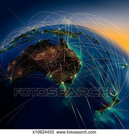 手绘图 主要, 空气, 路线, 在中, 澳大利亚和新西兰