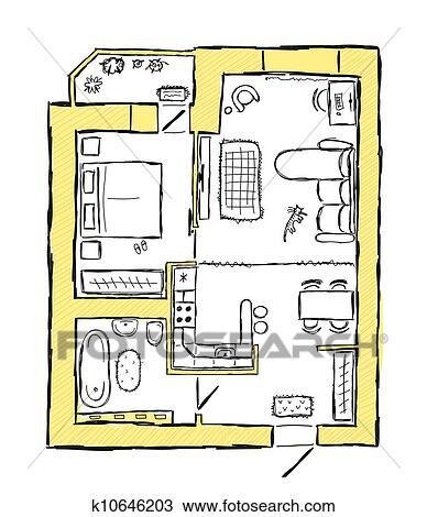 Clipart skizze von design innere wohnung hand for Innere design