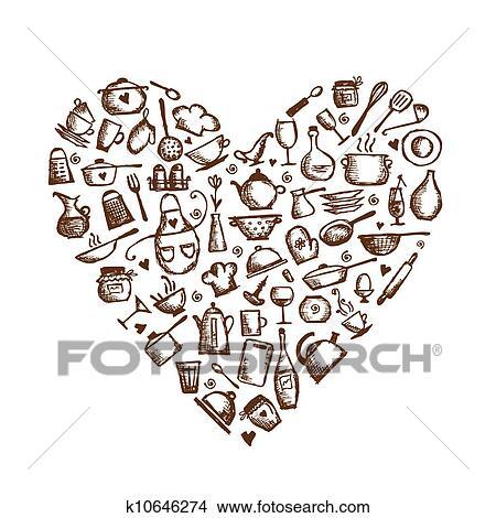 Kitchen Utensils Sketch Heart Shape For Your Design