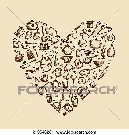 clipart - io, amore, cooking!, utensili cucina, schizzo, forma ... - Disegni Per Cucina