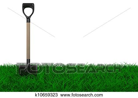 Drawing of shovel on grass garden tool isolated 3d image for Gardening tools drawing