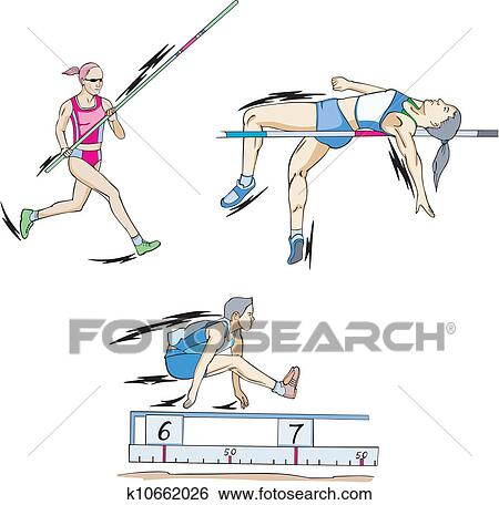 Clip Art of Pole vault, High jump and Long jump k10662026 - Search ...