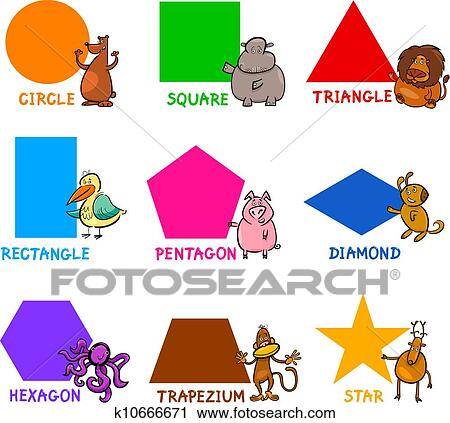 clipart of basic geometric shapes with cartoon animals k10666671 search clip art illustration. Black Bedroom Furniture Sets. Home Design Ideas