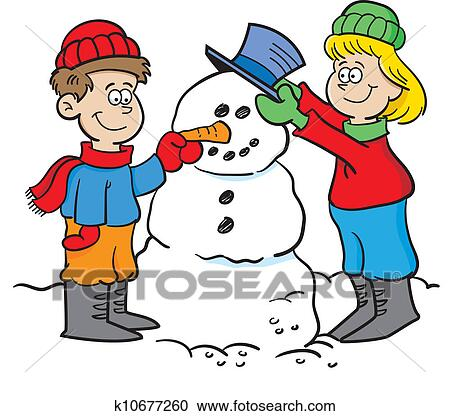 clipart of kids building a snowman k10677260 search clip