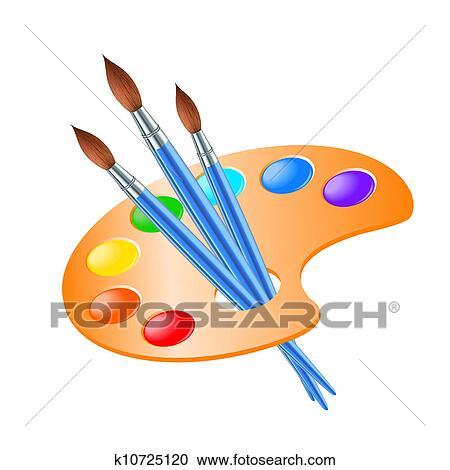 Clipart art palette pinceau pour dessin k10725120 - Palette a dessin ...