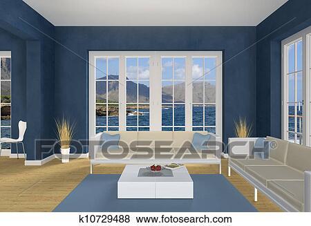 Images bleu bord mer salle de s jour k10729488 for Salle de sejour bleu