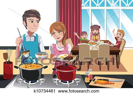 Clipart of Family dinner k10734461 - Search Clip Art ...
