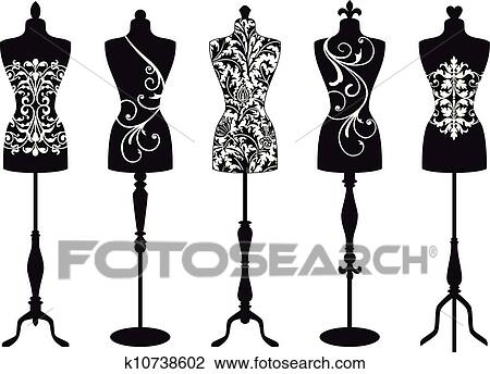 Clipart mode mannequins vecteur ensemble k10738602 recherchez des clip arts des - Dessin couturiere ...