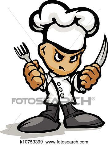Clipart restaurant chef cuistot ou cuisinier - Dessin anime de cuisine ...