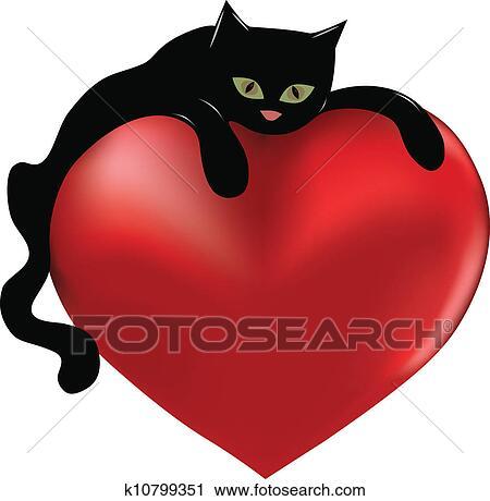 Clipart gatto nero e cuore k10799351 cerca clipart for Gatto clipart