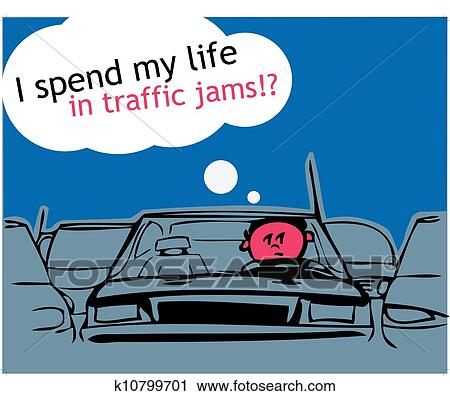 Clipart Of I Spend My Life In Traffic Jam K10799701