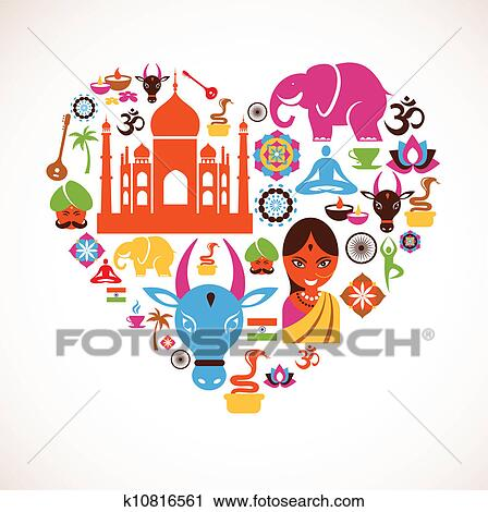 Clip Art India Clipart india clip art eps images 38730 clipart vector heart with icons