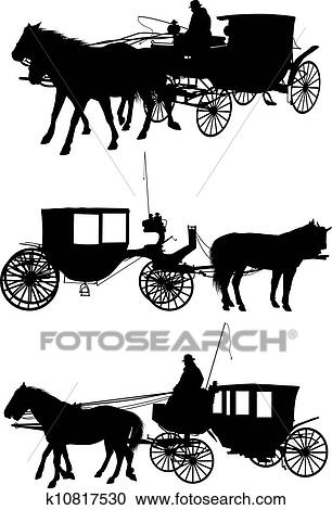 clipart pferd und wagen silhouette k10817530 suche