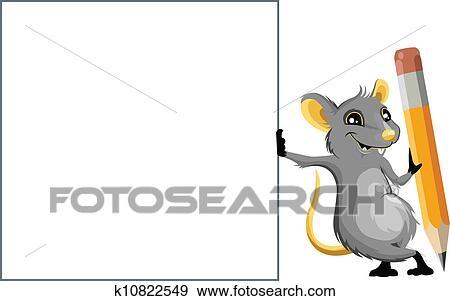 clip art maus mit a bleistift k10822549 suche clipart poster illustrationen zeichnungen. Black Bedroom Furniture Sets. Home Design Ideas