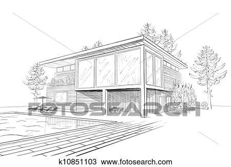 Clipart vektor skizze von modernes haus k10851103 for Modernes haus zeichnung