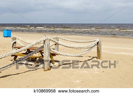 Bilder - seil, holzstamm, zaun, setzen sand strand, tisch, bank ...