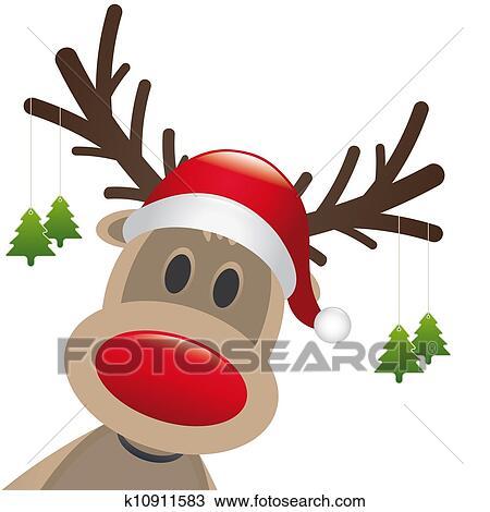 Dessin renne nez rouge pendre arbre no l k10911583 - Dessin de renne au nez rouge ...
