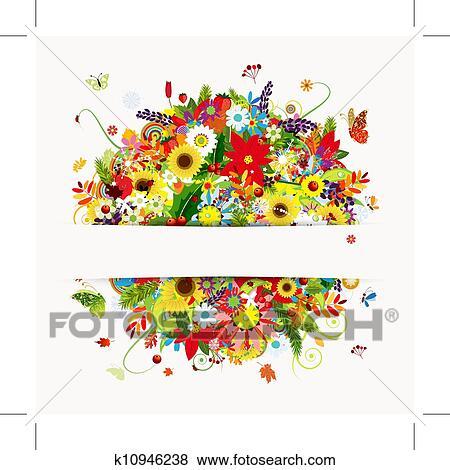 clip art geschenkschein design mit blumen blumenstrau vier jahreszeiten k10946238 suche. Black Bedroom Furniture Sets. Home Design Ideas