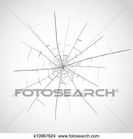 Drawings of broken glass cracks k10967624 - Search Clip ...