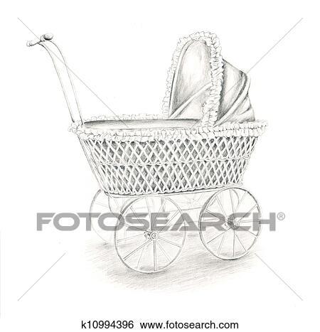 Banque d 39 illustrations poup e poussette k10994396 - Poussette dessin ...