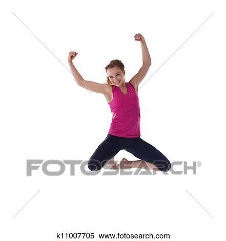 轻,sportish,妇女,在中,显示,跳高,肌肉k1100女生裙子脱图片